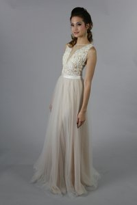 Handmade Sexy Lace Applique Long Special Occasion Bridesmaid Party Dress Wedding Dress