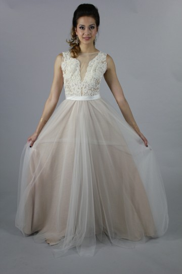 Lace Tulle Handmade Sexy Applique Long Special Occasion Bridesmaid Party Modern Wedding Dress Size 4 (S)