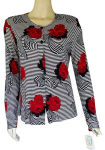 The Travel Collection Striped Floral Slinky Knit Buton Front Top Black