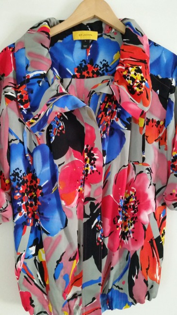St. John Bright Colorful Floral Jacket