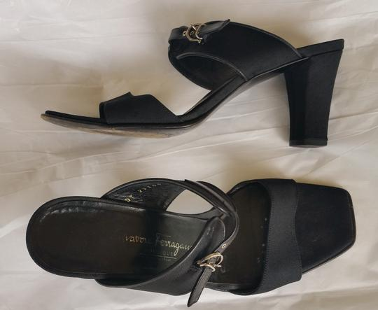 Salvatore Ferragamo Gros Grain Fabric Buckles Heels Black Sandals