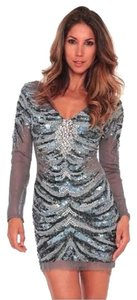 Jovani Silver Long Sleeve Zebra Tiger Sequin Low Cut Sexy 0 2 Xs Fancy Sparkle Dress