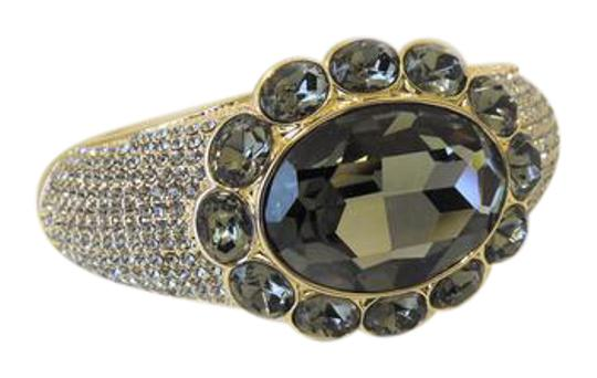 AKKAD AKKAD Black Diamond Crystal Hinged Cuff Bracelet S/M