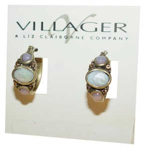 Liz Claiborne Villager Liz Claiborne Mother of PEarl Topaz Rhinestone Antique Gold Tone Hoop Pierced Earrings 1