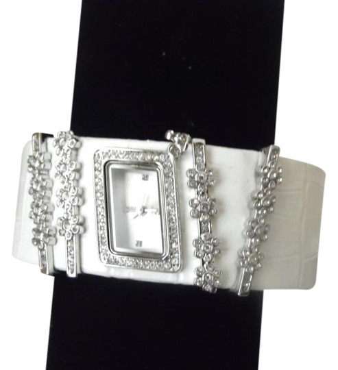 Preload https://img-static.tradesy.com/item/3813103/victoria-wieck-white-rare-leather-crystal-cuff-watch-0-3-540-540.jpg