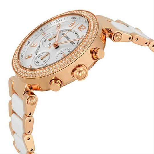 Michael Kors Michael Kors Chronograph White Dial Crystal Rose Gold-tone Ladies Watch