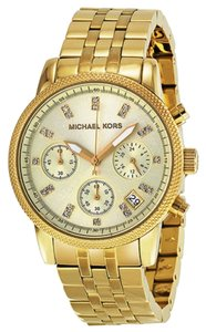 Michael Kors Michael Kors Chronograph Gold-Tone Crystal Accent Ladies Watch