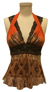 Just Cavalli Lace Going Runway Top Orange