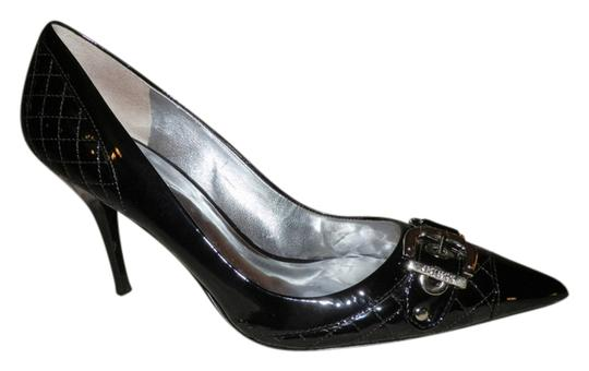 Guess By Marciano Leather Silver Hardware Buckle Black Pumps