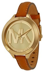 Michael Kors Michael Kors Champagne Gold Dial Brown Leather Strap Ladies Watch