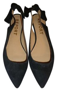 Report Signature Suede Slingback Bow Black Flats