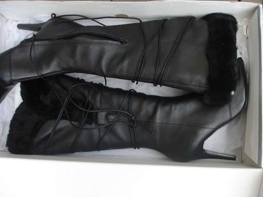 Nine West Leather Fur Trim black Boots