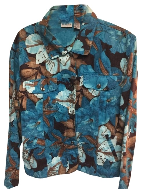Chico's Multi Color Turquoise Brown Jacket