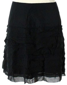 Reiss Silk Ruffle Skirt Black