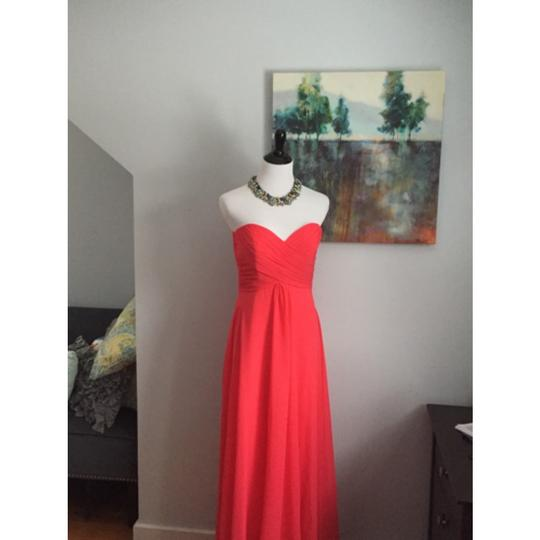 Allure Bridals Watermellon (Coral) Chiffon Bridesmaid/Mob Dress Size 8 (M)