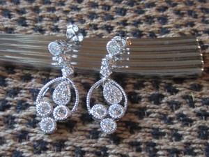Ross-Simons 925 Sterling Silver Cz *raindrop* Earrings
