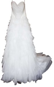 Galina White Strapless Dot Description: Tulle Ball Gown with Ru Modern Wedding Dress Size 12 (L)
