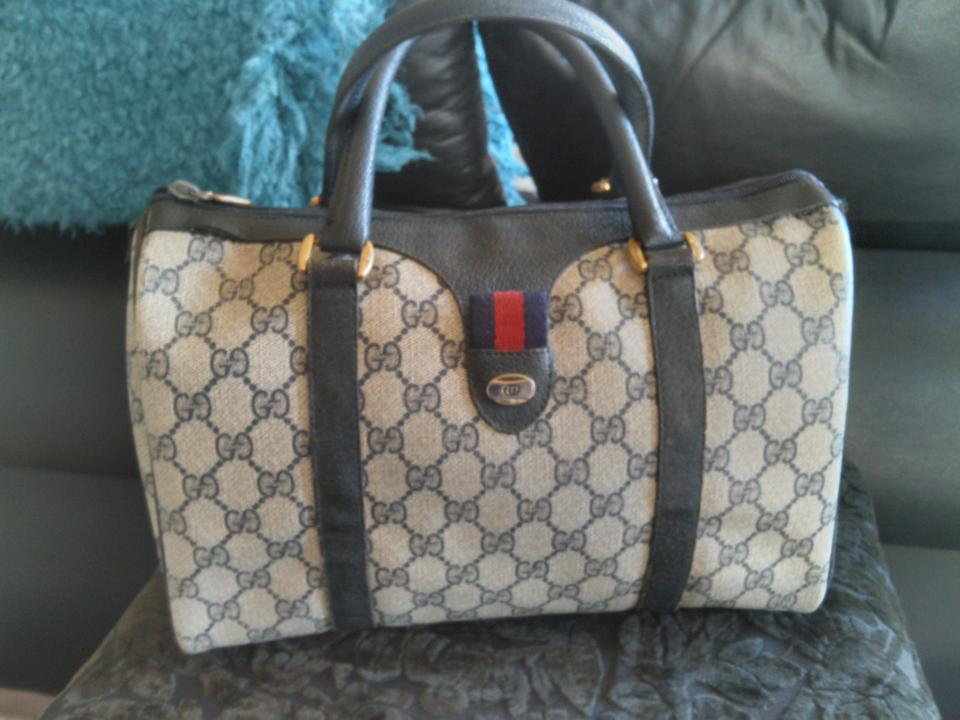 4381519385be Gucci Boston Anniversary Collection Doctor Handbag Navy Blue and Ebony Gg  Coated Canvas Leather Satchel