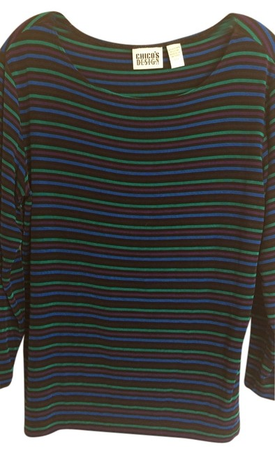 Preload https://img-static.tradesy.com/item/3815515/chico-s-green-blue-black-and-purple-stretchy-blouse-size-10-m-0-0-650-650.jpg