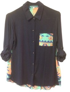 Julie's Closet Aztec Buttondown Semisheer Button Down Shirt Navy, Teal, Coral
