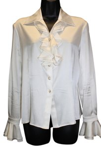 St. John Ruffles Silk Button Down Shirt