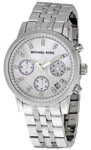 Michael Kors Michael Kors Silver Tone Mother of Pearl & Crystal Dial Textured Bezel Ladies watch