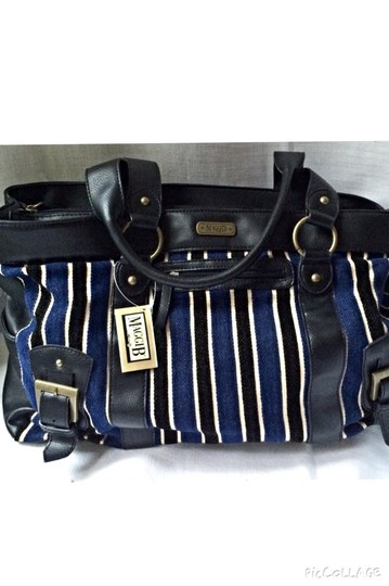 Maggie B. Carry All Tote Satchel in Blue Black