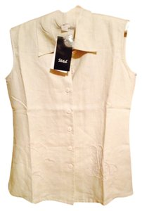 Love Stitch Top Linen off white/creamy