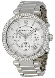 Michael Kors Michael Kors Silver Dial Crystal Pave Bezel Silver Tone Ladies Watch