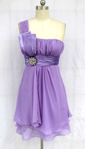 Purple One Shoulder Pleated W/ Rhinestones Chiffon Dress. Dress