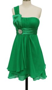 Green One Shoulder Pleated W/ Rhinestones Dress