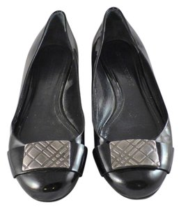 Burberry Patent Leather Buckle Black Flats