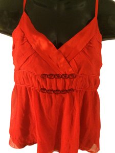 Spenser Jeremy Silk Thin Embellished Lined Beads Side Zipper Adjustable Vibrant Top orange