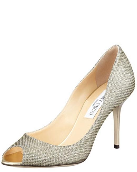 Item - Light Bronze Evelyn Peep Toe Glitter Prom Pump Formal Size US 7
