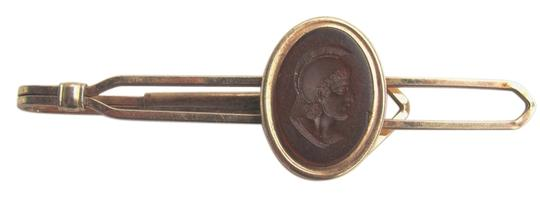 Krementz Vintage Kremetz Gold tone tie bar clasp with cameo warrior made in USA