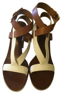 Tory Burch Strappy Nappa Leather Tan and white Sandals