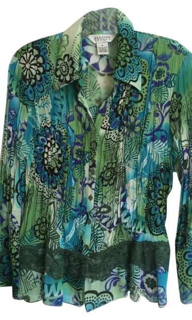 Preload https://img-static.tradesy.com/item/3817282/allison-taylor-blue-and-green-blouse-size-10-m-0-0-650-650.jpg