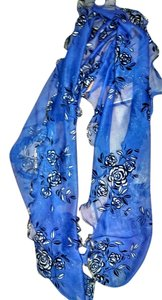 Other New Saffron Scarf Blue Black Floral Long 60 inches J1421