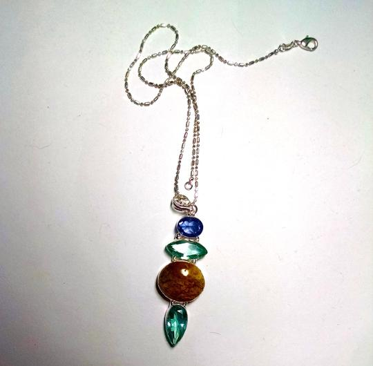 Other New Jasper Topaz & Green Amethyst Gemstone NecklaceJ941