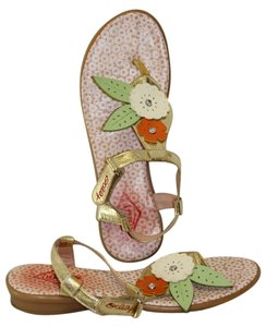 Oilily Golden with Colorful Flowers Sandals