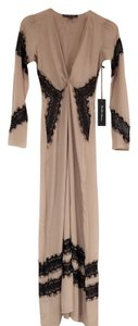 Camel Nude With Black Lace Maxi Dress by For Love & Lemons