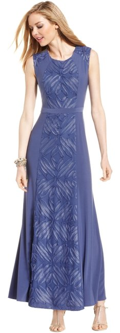 Item - Indigo Soutache Panel Long Cocktail Dress Size 10 (M)