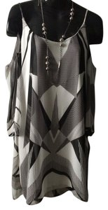 Bisou Bisou Geometric Print Polyester Open Size 2 Lined Dress