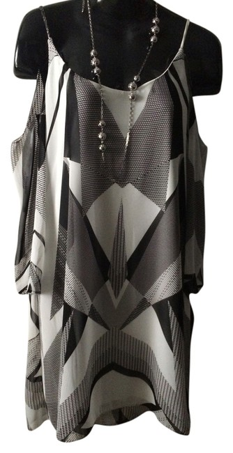Bisou Bisou Geometric Print Tunic/Dress Polyester Open Shoulder Size 2 Lined Dress