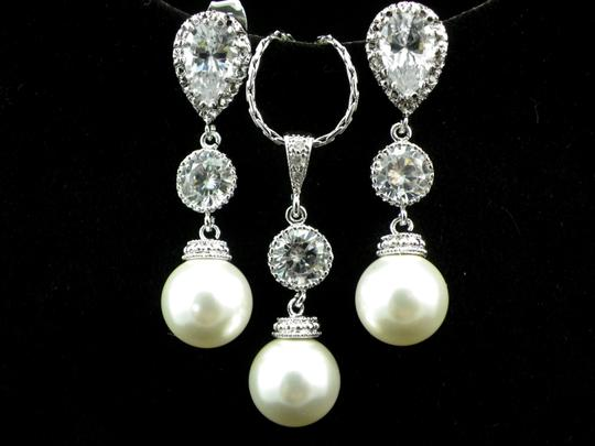 Preload https://item4.tradesy.com/images/white-pearl-earrings-necklace-bridesmaid-gift-rhodium-plated-cubic-zirconia-sterling-silver-posts-pe-3817513-0-0.jpg?width=440&height=440