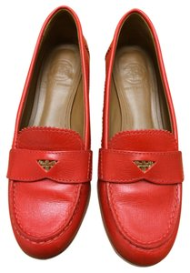 Tory Burch Leather Textured Tory Red Flats
