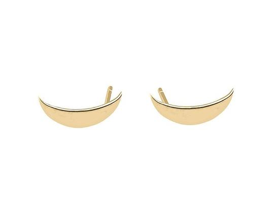 Jennie Kwon Designs Delicate Jennie Kwon Long Crescent Moon Stud Earrings in Solid 14K Rose Gold