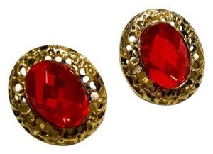 New Antiqued Gold Red Crystal Stud Earrings J942 Summersale