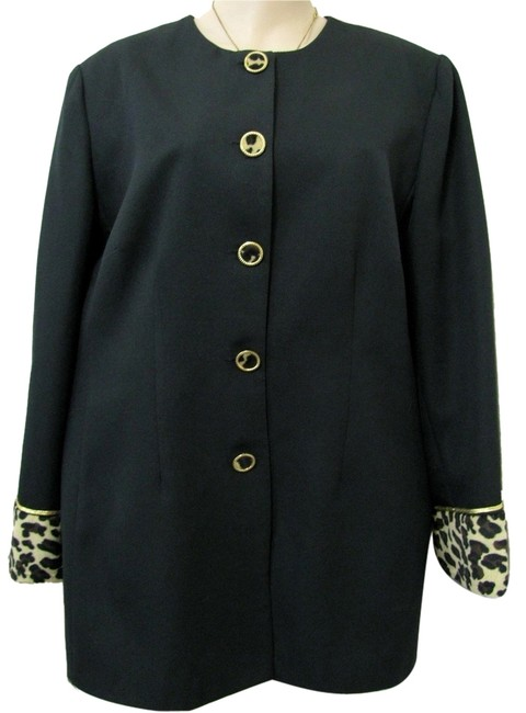 Chad Steven Event Occasion Jacket Womens Leopard Print Animal Buttoned Longsleeve 18w Plus 18 Xl Ladies Church Attire Newyears Usa black Blazer