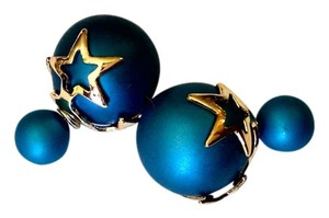 New Blue Star Ball Stud Earrings Large Double Sided J943